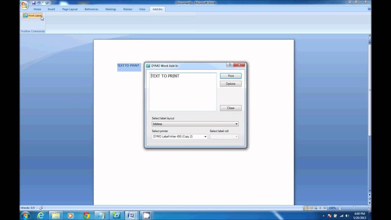 How To Print From Dymo Label Software In Microsoft Word In Dymo Label Templates For Word