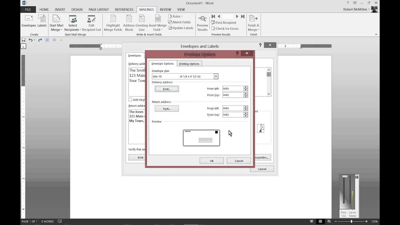 How To Print To Envelopes In Microsoft Word 2013 With Word 2013 Envelope Template