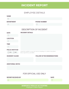 How To Write An Effective Incident Report [Incident Report For Employee Incident Report Templates