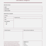 How To Write An Effective Incident Report [Incident Report Throughout Incident Report Register Template