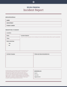 How To Write An Effective Incident Report [Incident Report within First Aid Incident Report Form Template
