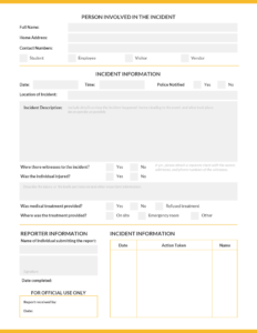 How To Write An Effective Incident Report [Incident Report within Serious Incident Report Template