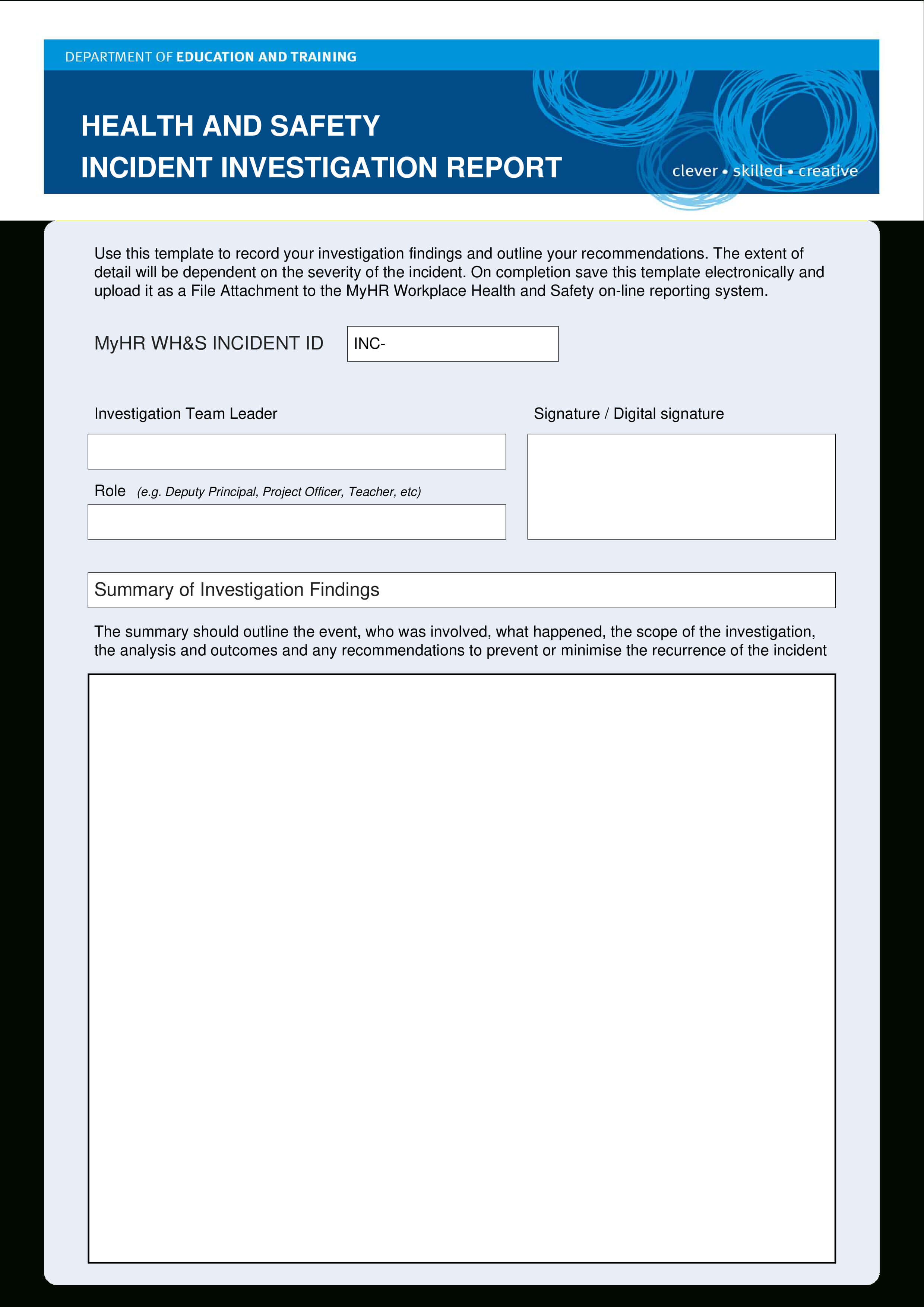 Hse Health Safety Incident Investigation Report | Templates At Regarding Hse Report Template