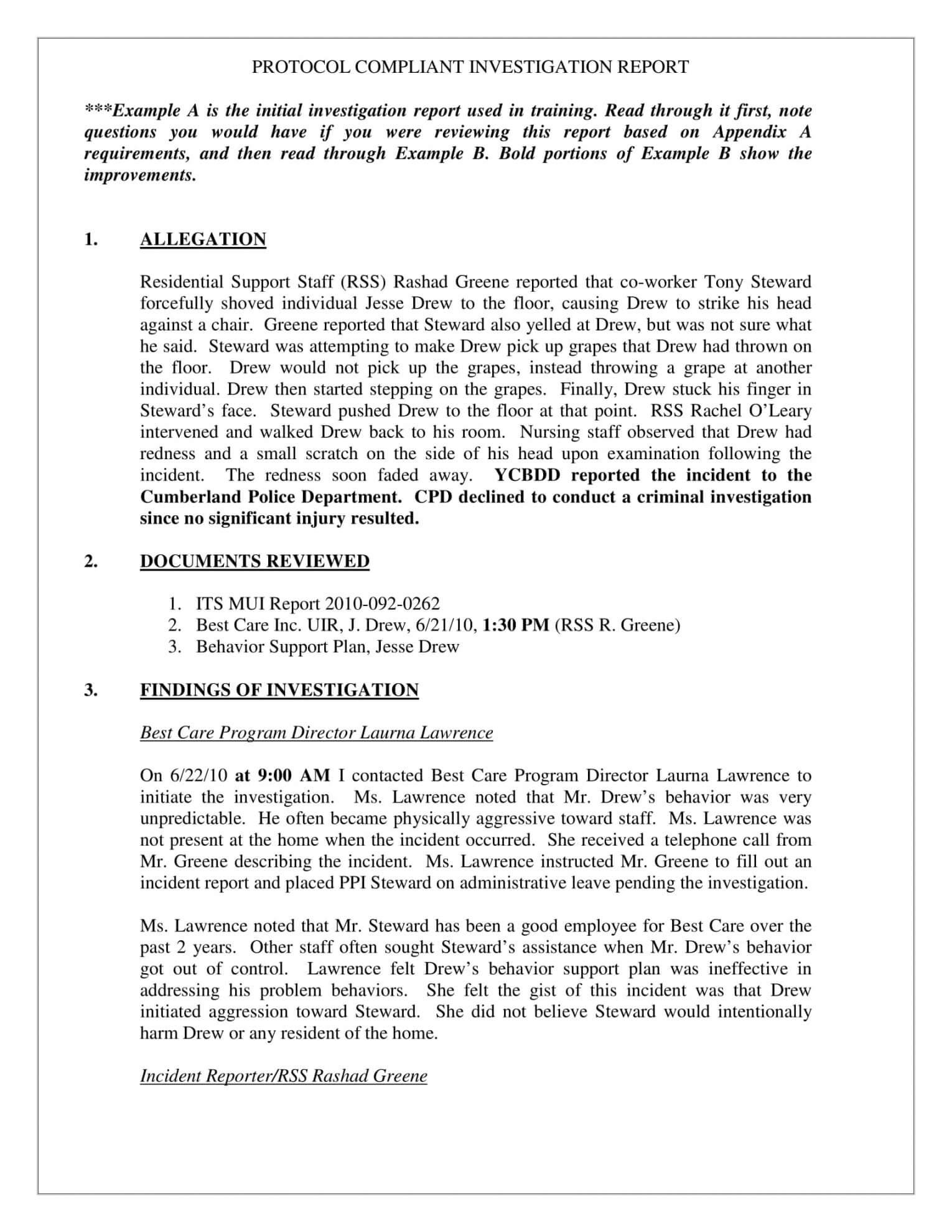 Human Resources Investigation Report Template Inside Investigation Report Template Doc