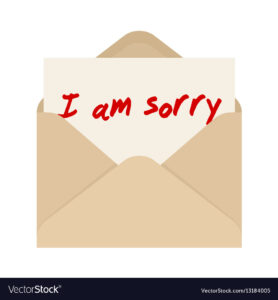 I Am Sorry Card In Brown Envelope The Letter in Sorry Card Template