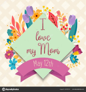 I Love My Mom Greeting Card Template, Colorful Floral inside Mom Birthday Card Template