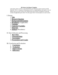 Ib Biology Lab Report Template pertaining to Science Experiment Report Template