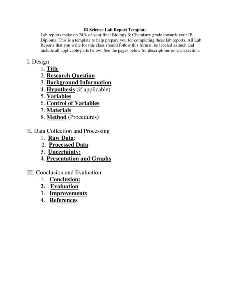 Ib Biology Lab Report Template With Lab Report Conclusion Template