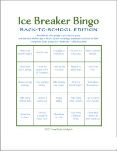 Ice Breaker Bingo: Back-To-School Version – Flanders Family with regard to Ice Breaker Bingo Card Template