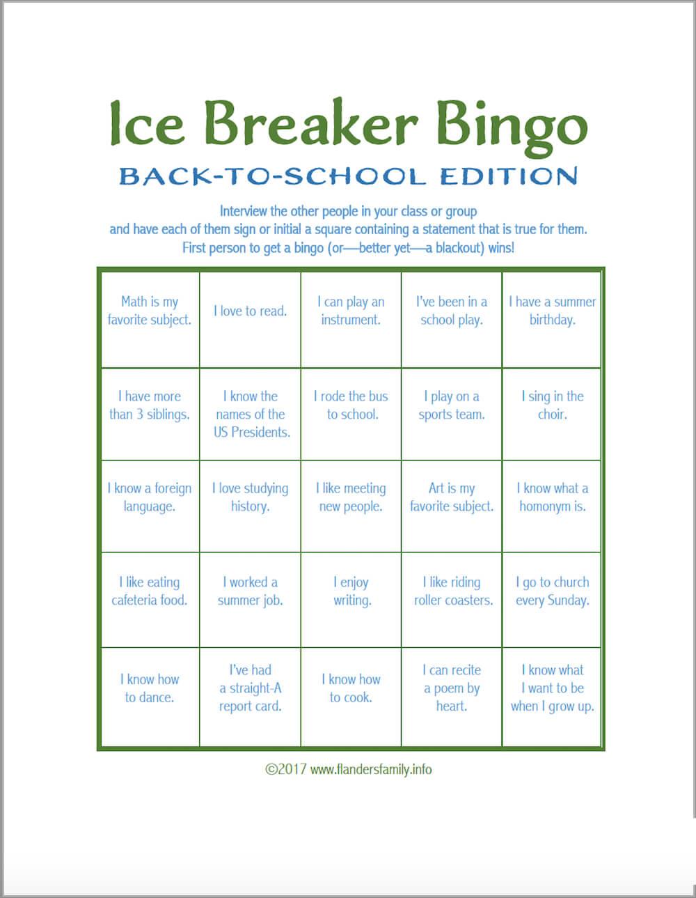 Ice Breaker Bingo: Back To School Version - Flanders Family With Regard To Ice Breaker Bingo Card Template