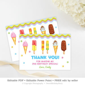 Ice Cream Thank You Card Printable, Editable Scoop Birthday within Powerpoint Thank You Card Template