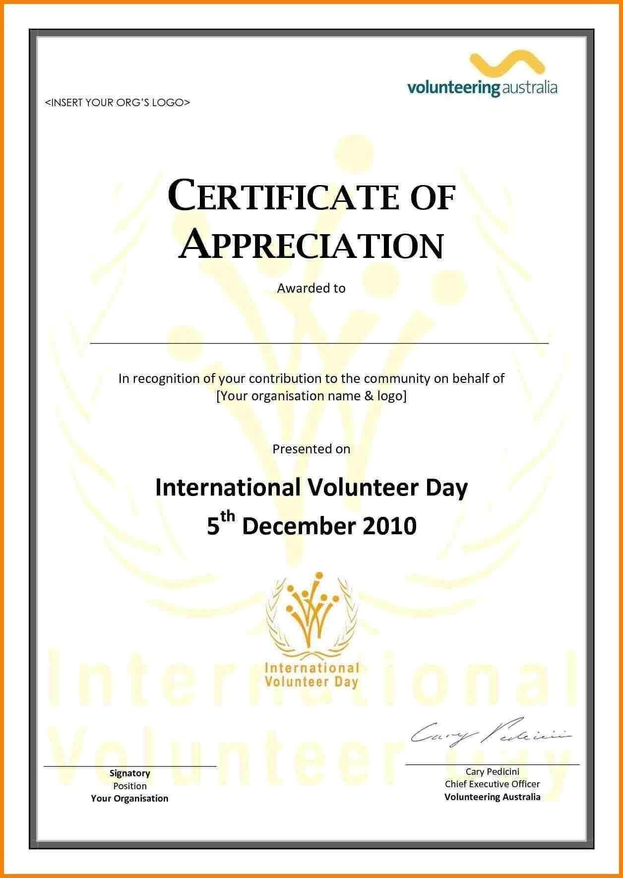 Ideas For Volunteer Award Certificate Template About Format Throughout Volunteer Award Certificate Template
