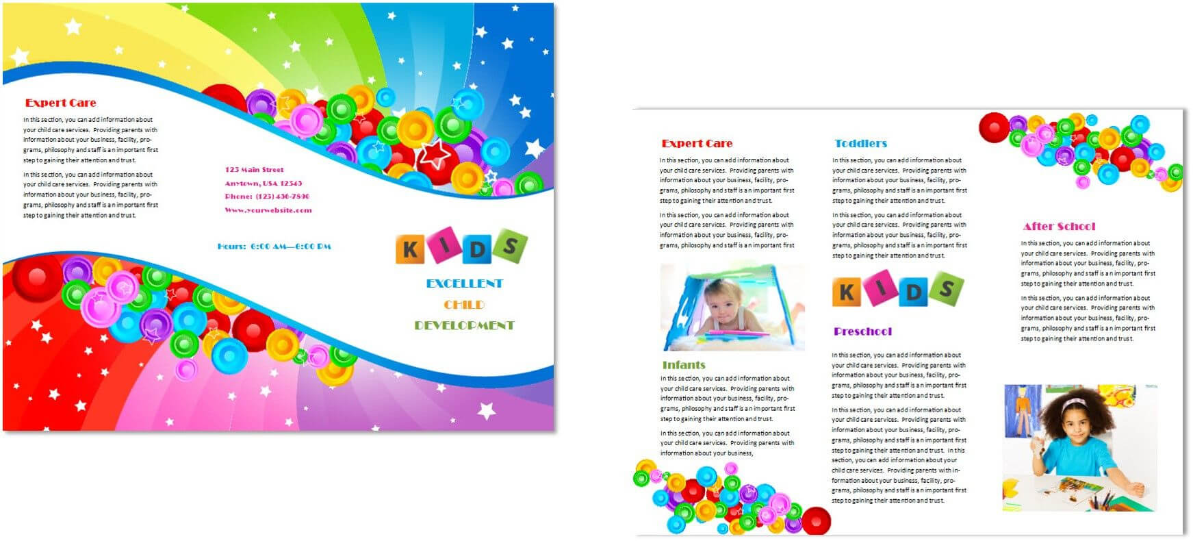 Image Result For Brochure For Pre School & Day Care With Regard To Daycare Brochure Template