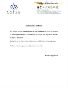Image Result For Example Of A Good Experience Letter within Template Of Experience Certificate