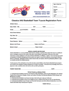 Images Of Basketball Registration Template For Word Bfegy throughout Camp Registration Form Template Word