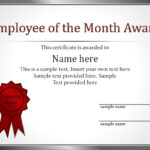 Impressive Employee Of The Month Award And Certificate inside Employee Of The Month Certificate Template With Picture