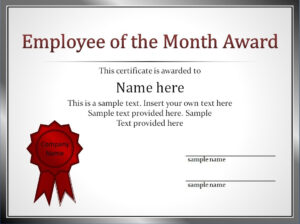 Impressive Employee Of The Month Award And Certificate intended for Funny Certificates For Employees Templates