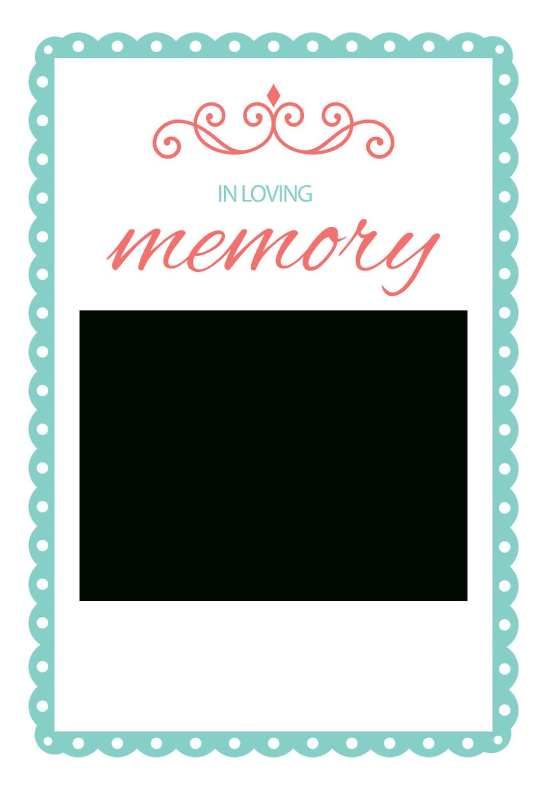In Loving Memory - Free Memorial Card Template | Greetings Inside Remembrance Cards Template Free