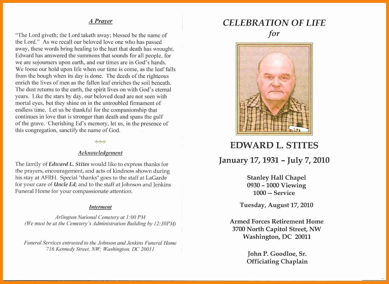 In Memoriam Cards Template Free Celebration Of Life Program Pertaining To Remembrance Cards Template Free