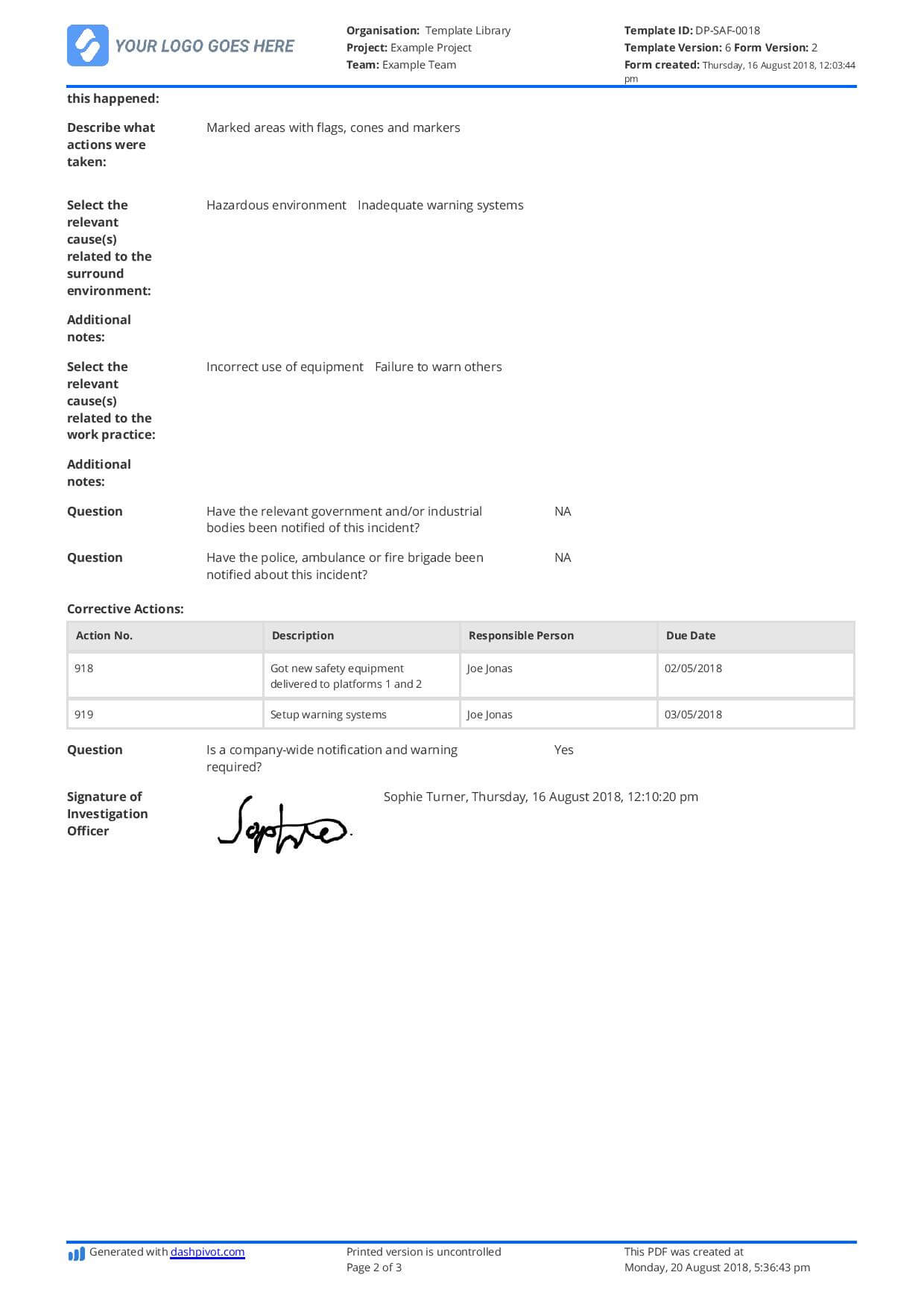 Incident Investigation Eport Sample And What Else You Need With Regard To Investigation Report Template Doc