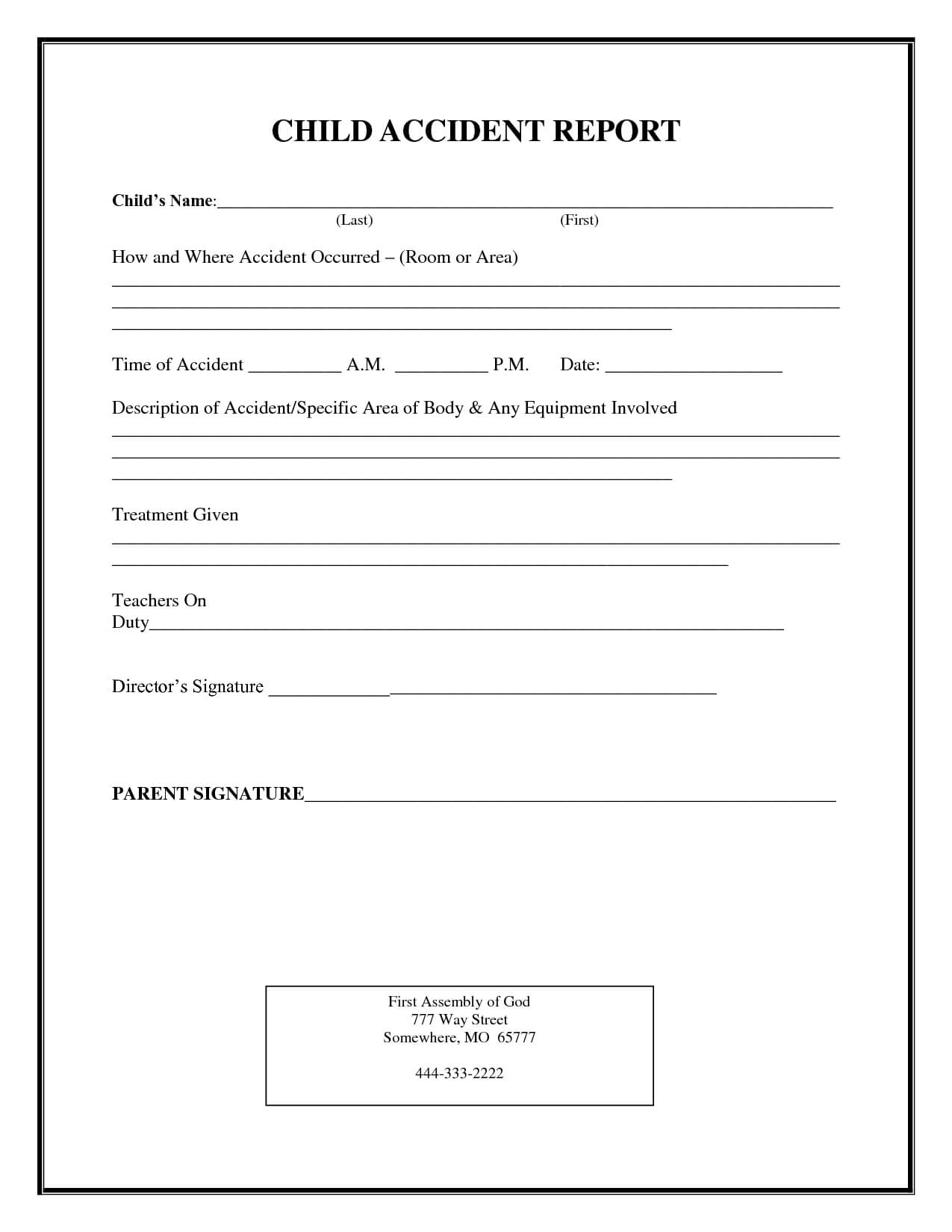 Incident Report Form Child Care | Child Accident Report Inside School Incident Report Template