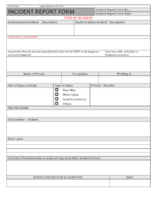 Incident Report Form – in Incident Report Register Template