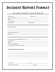 Incident Report Form Template Microsoft Excel | Report intended for It Incident Report Template