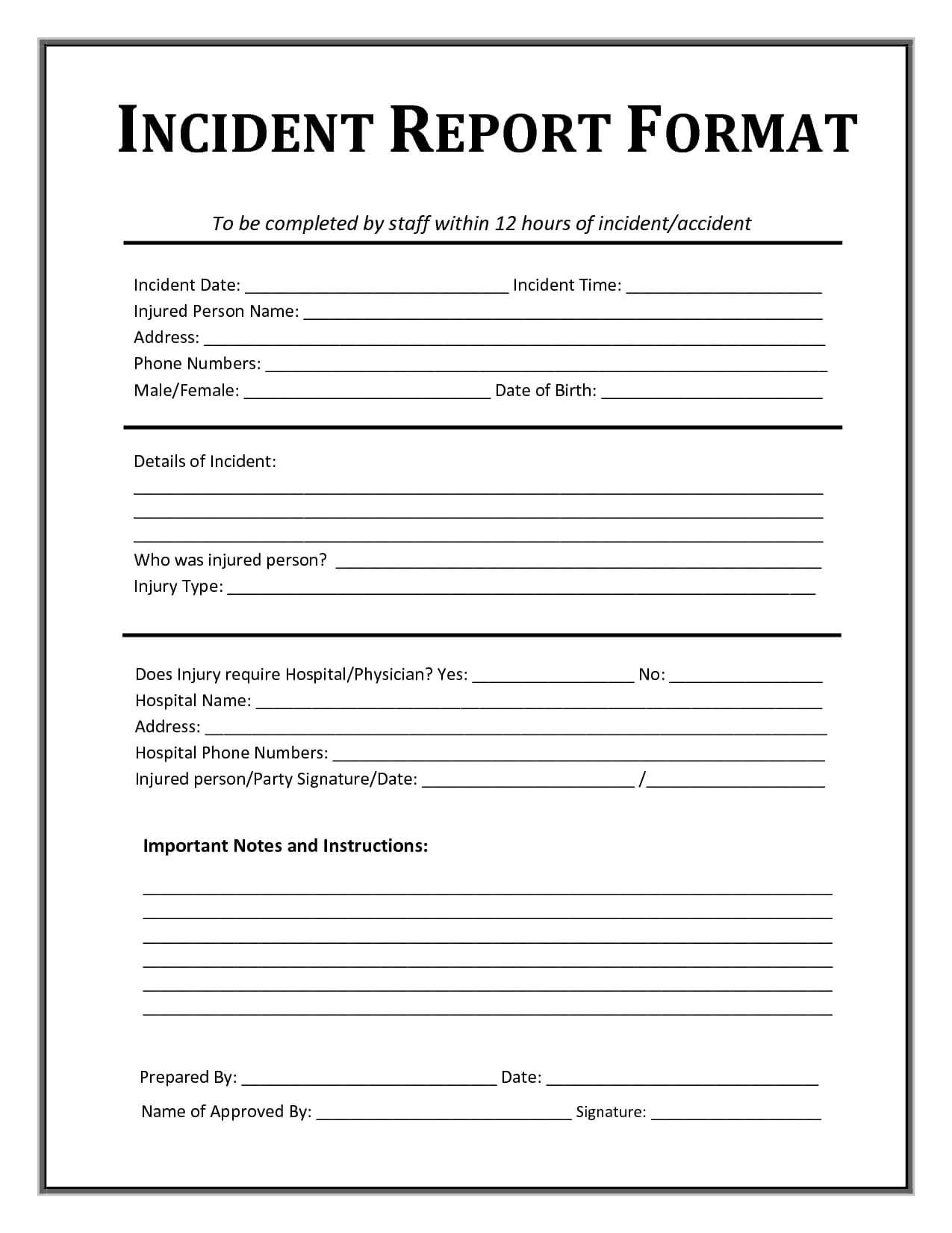 Incident Report Form Template Microsoft Excel | Report throughout Injury Report Form Template