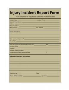 Incident Report Template inside Insurance Incident Report Template