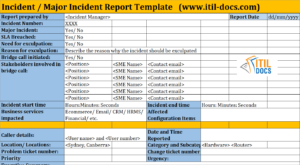 Incident Report Template | Major Incident Management – Itil Docs pertaining to It Incident Report Template