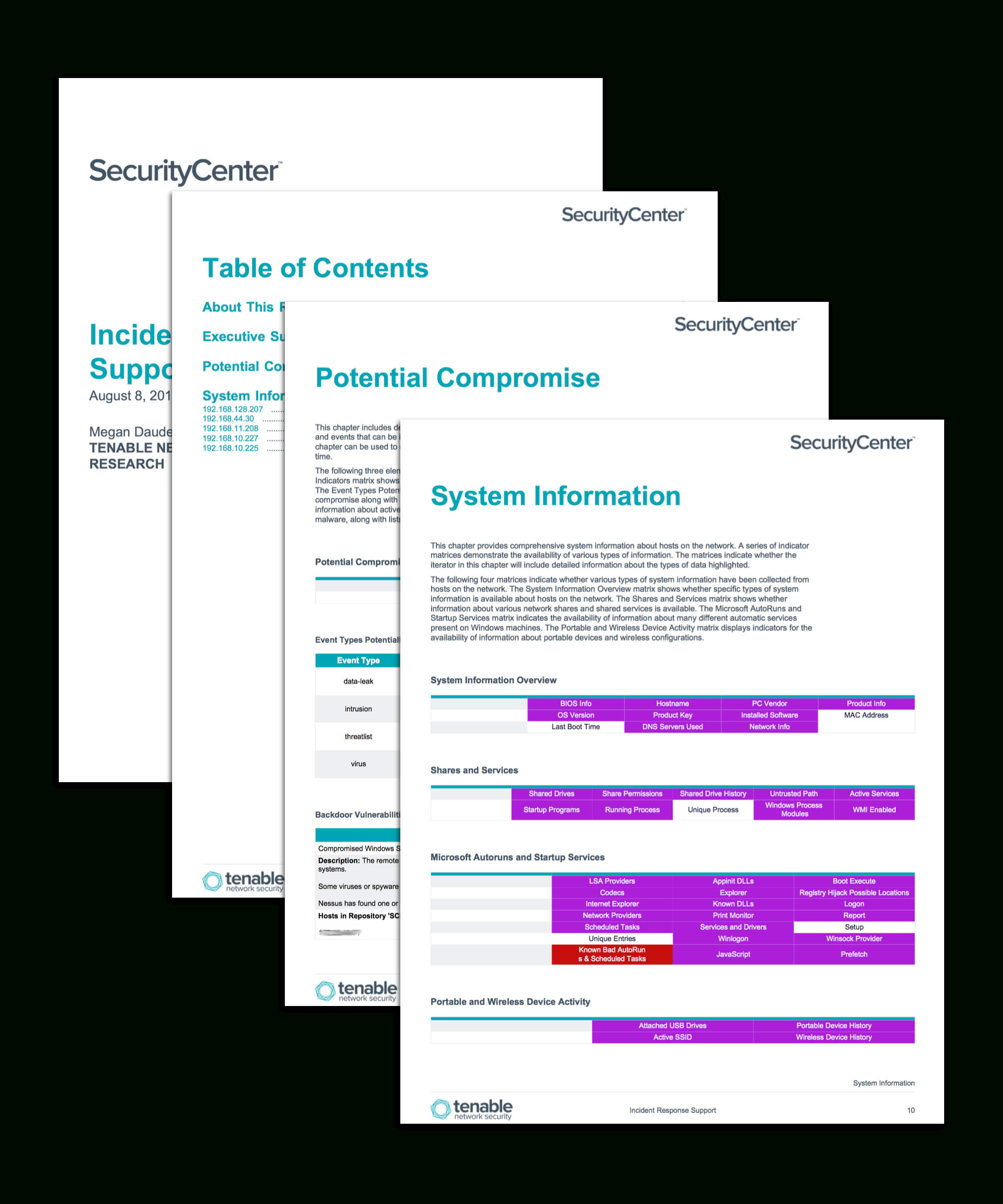 Incident Response Support - Sc Report Template | Tenable® Inside Technical Support Report Template