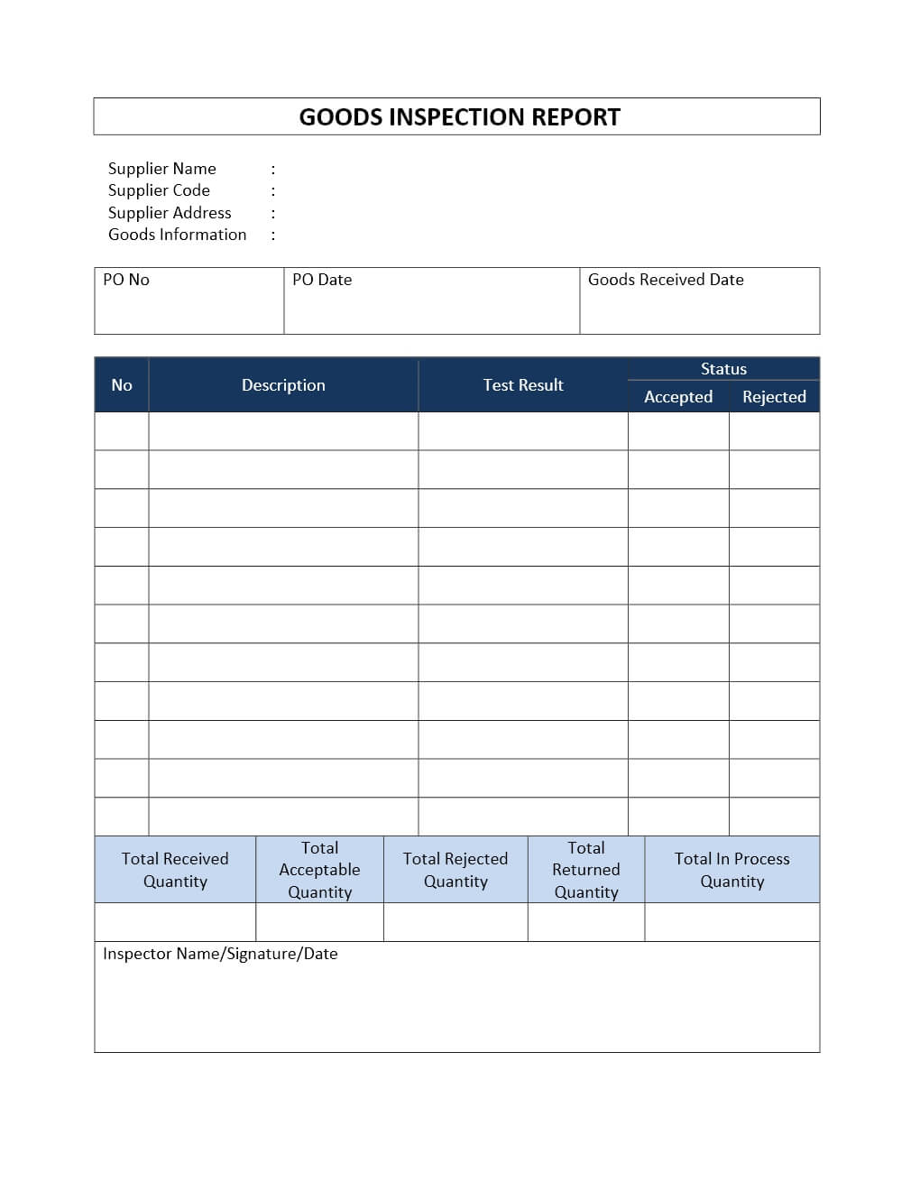 Incoming Goods Inspection Report Throughout Engineering Inspection Report Template