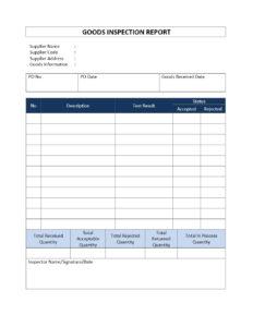 Incoming Goods Inspection Report throughout Part Inspection Report Template