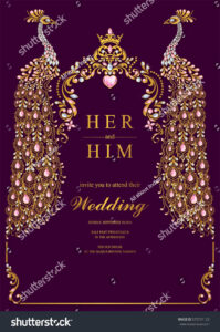 Indian Wedding Invitation Card Templates With Gold Peacock throughout Indian Wedding Cards Design Templates