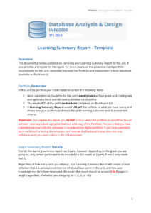 Inf60009 Lsr Template – Databas Learning Summary Report Throughout Work Summary Report Template