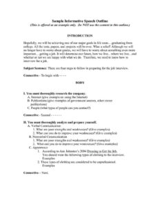 Informative Speech Template – Verypage.co pertaining to Speech Outline Template Word