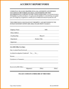 Injury Incident Ort Template And Illness Form Example Non for Incident Hazard Report Form Template