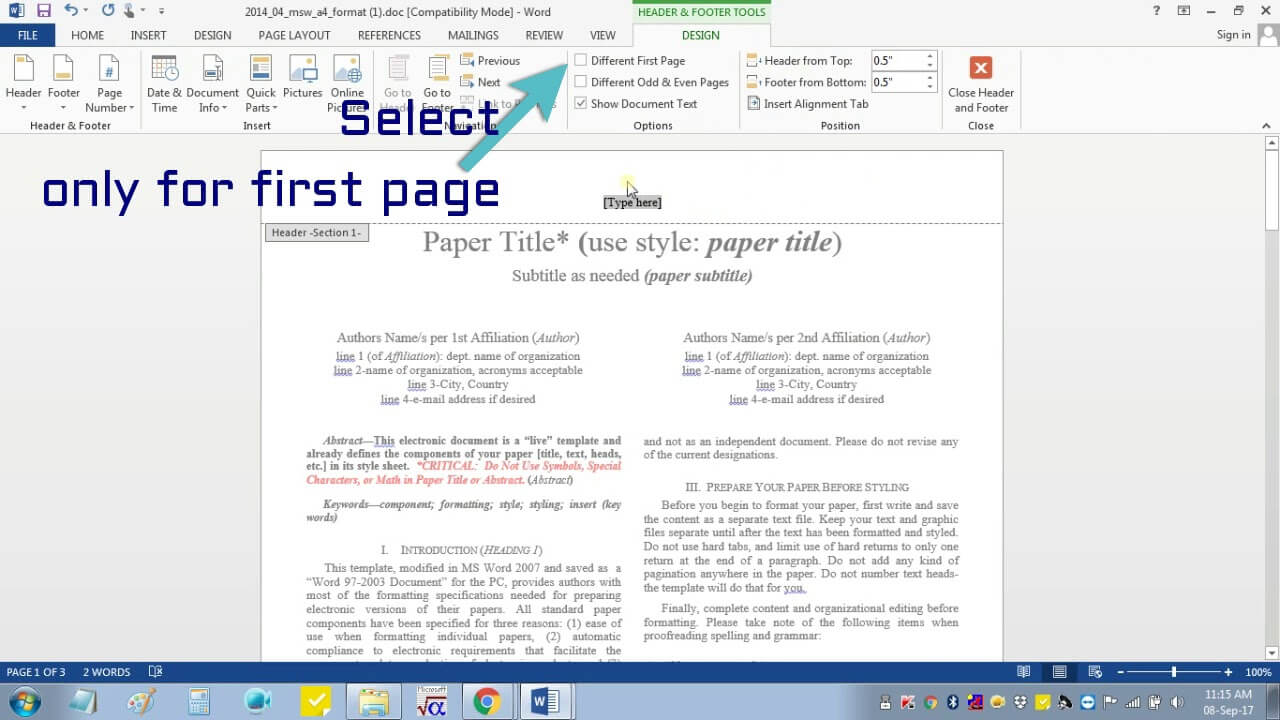 Insert Header Footer In Ms Word For Ieee Camera Ready Manuscript Inside Ieee Template Word 2007