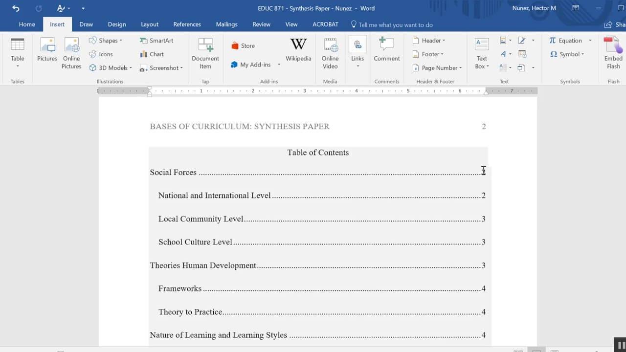 Inserting A Table Of Contents In An Apa Formatted Paper For Microsoft Word Table Of Contents Template