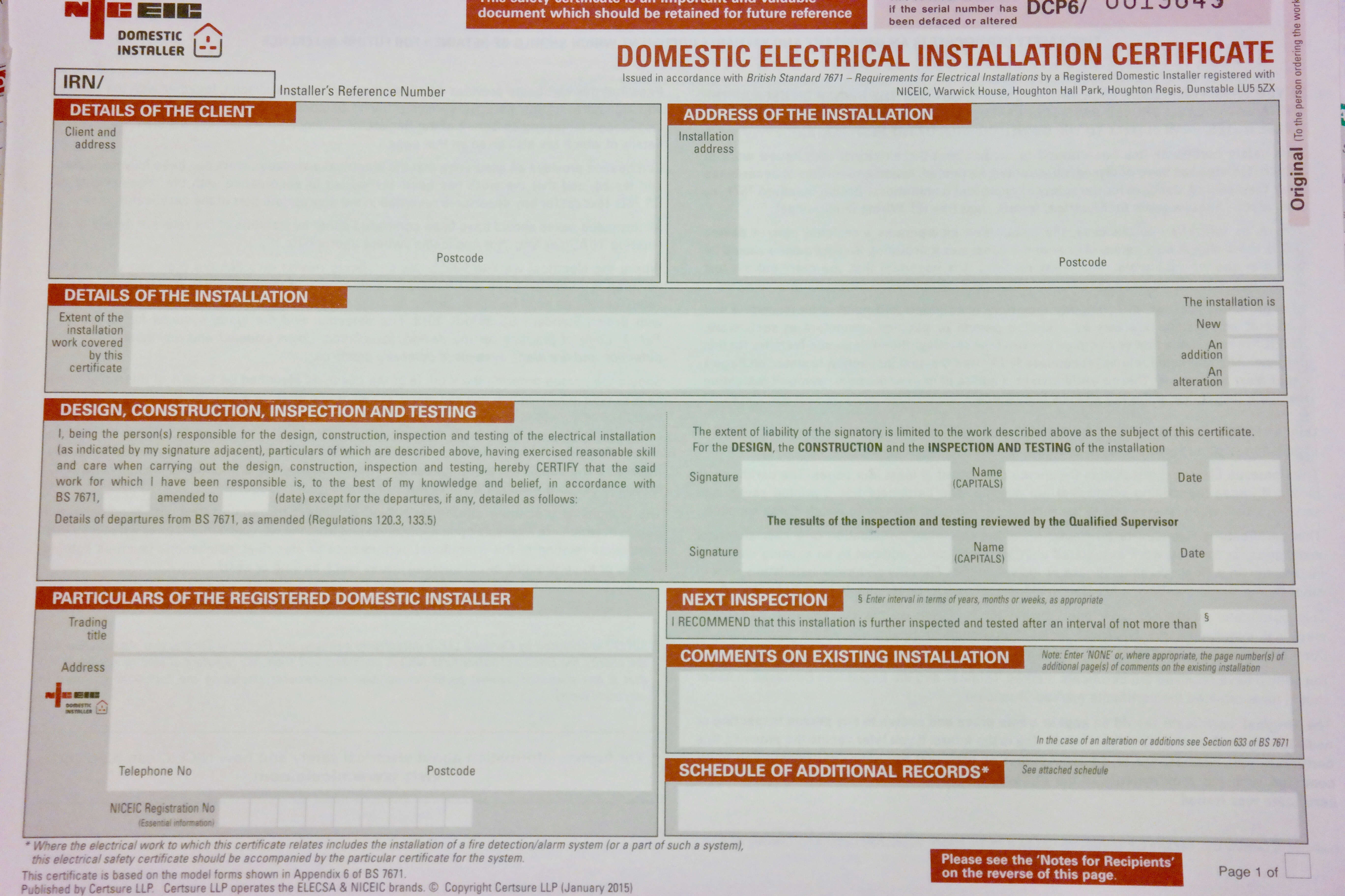 Inspections, Certification & Testing – Auber Electrical Throughout Electrical Installation Test Certificate Template