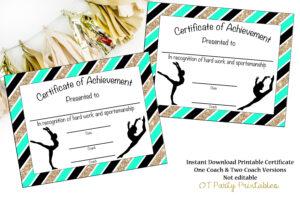 Instant Download – Gymnastics Award – Gymnastics Certificate – Printable  Gymnastics Award – Sports Achievement – You Print – Gymnastics Meet intended for Gymnastics Certificate Template