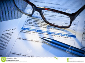 Insurance Incident Injury Work Report Form Stock Image within Insurance Incident Report Template