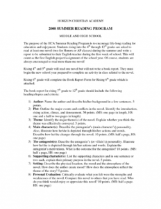 Introduction To Book Port Example Format For College Pdf for 6Th Grade Book Report Template