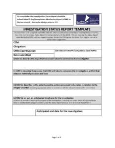 Investigation Status | Templates At Allbusinesstemplates pertaining to Compliance Monitoring Report Template