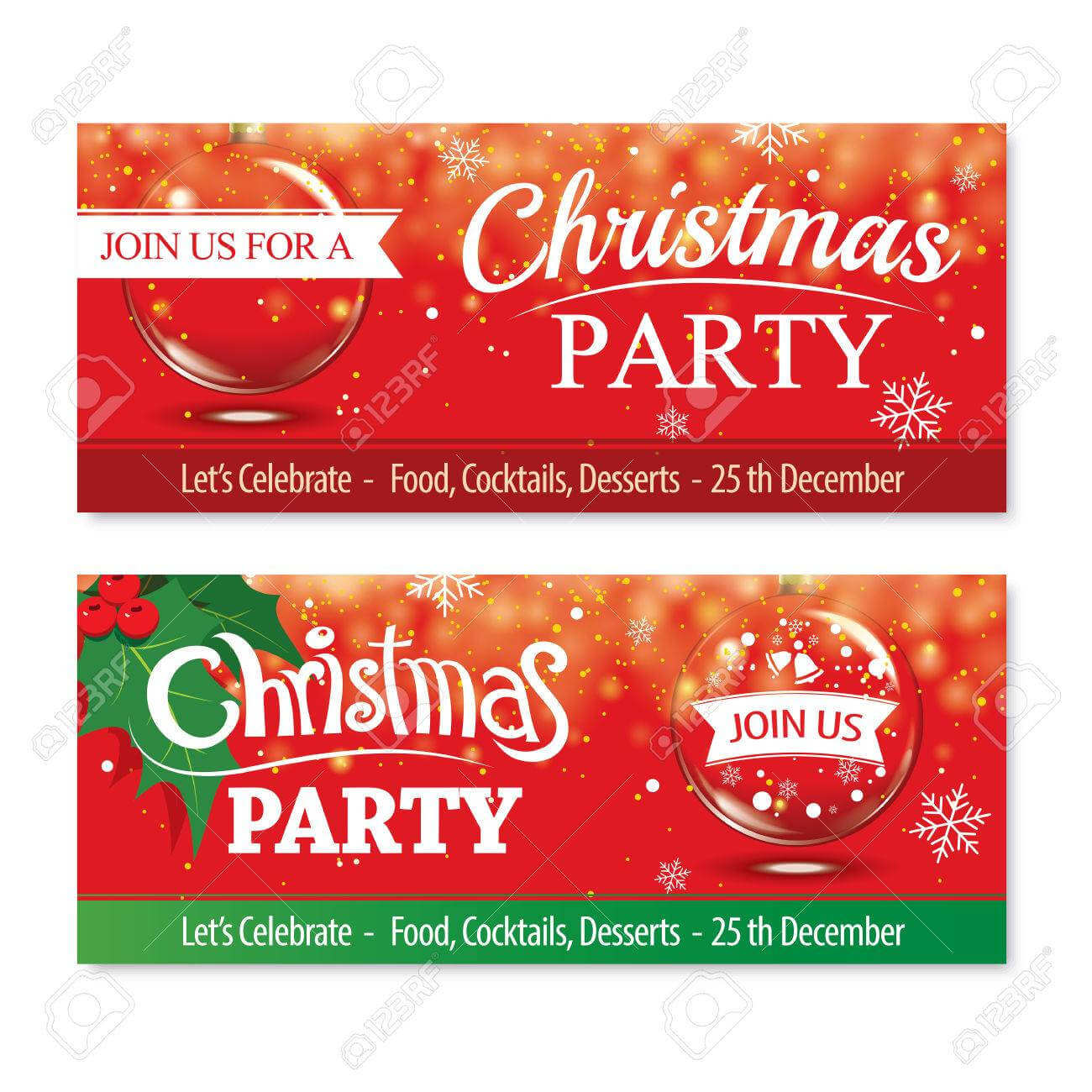 Invitation Merry Christmas Banner And Card Design Template.glass.. Throughout Merry Christmas Banner Template