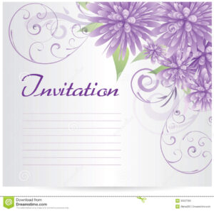 Invitation Template Blank With Purple Abstract Flowers Stock in Blank Templates For Invitations