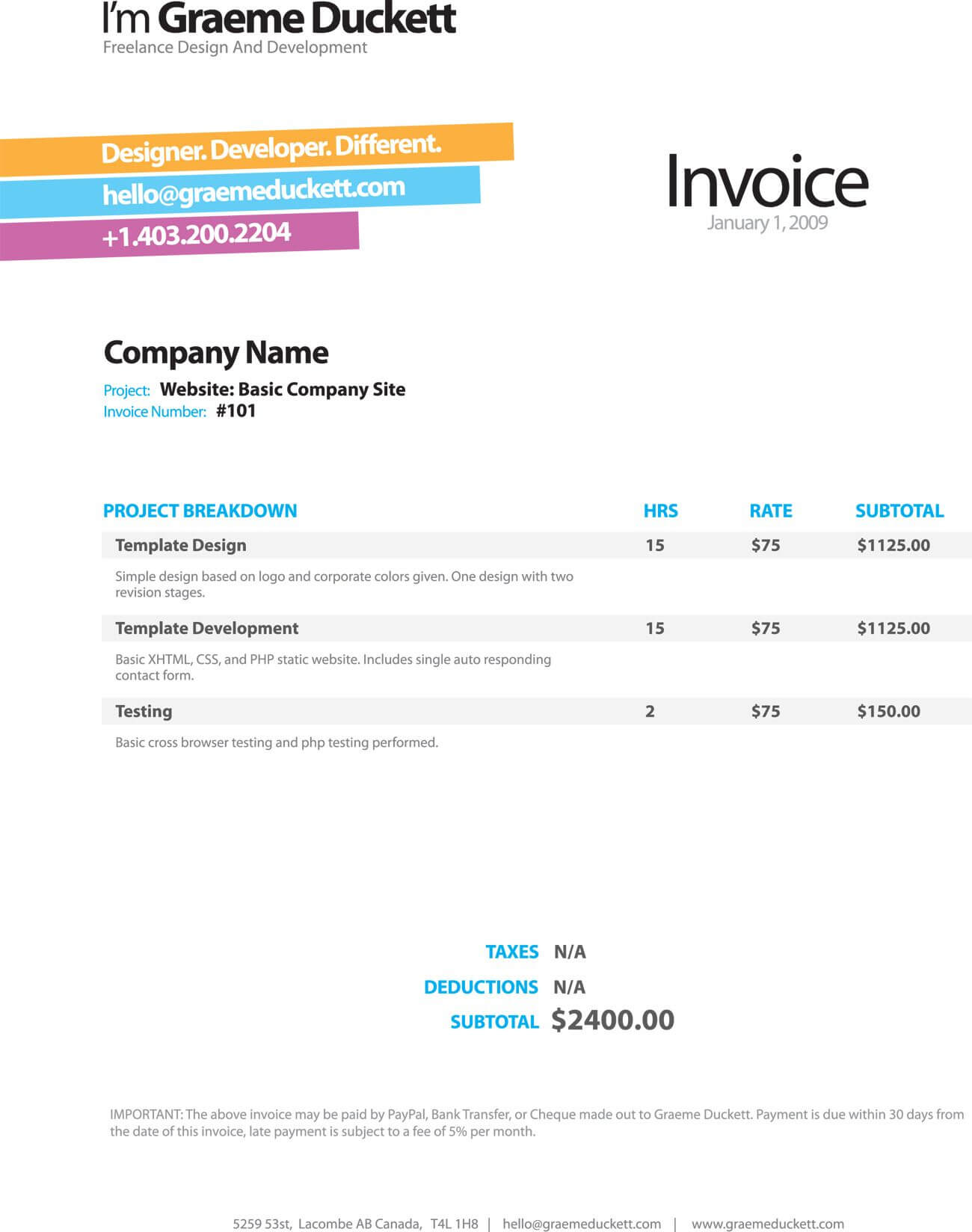 Invoice Like A Pro: Design Examples And Best Practices For Web Design Invoice Template Word