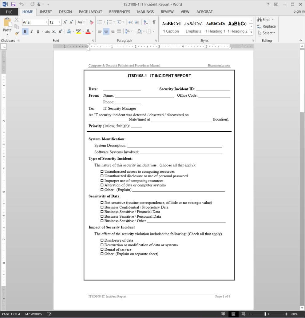 It Incident Report Template | Itsd108 1 Inside It Incident Report Template