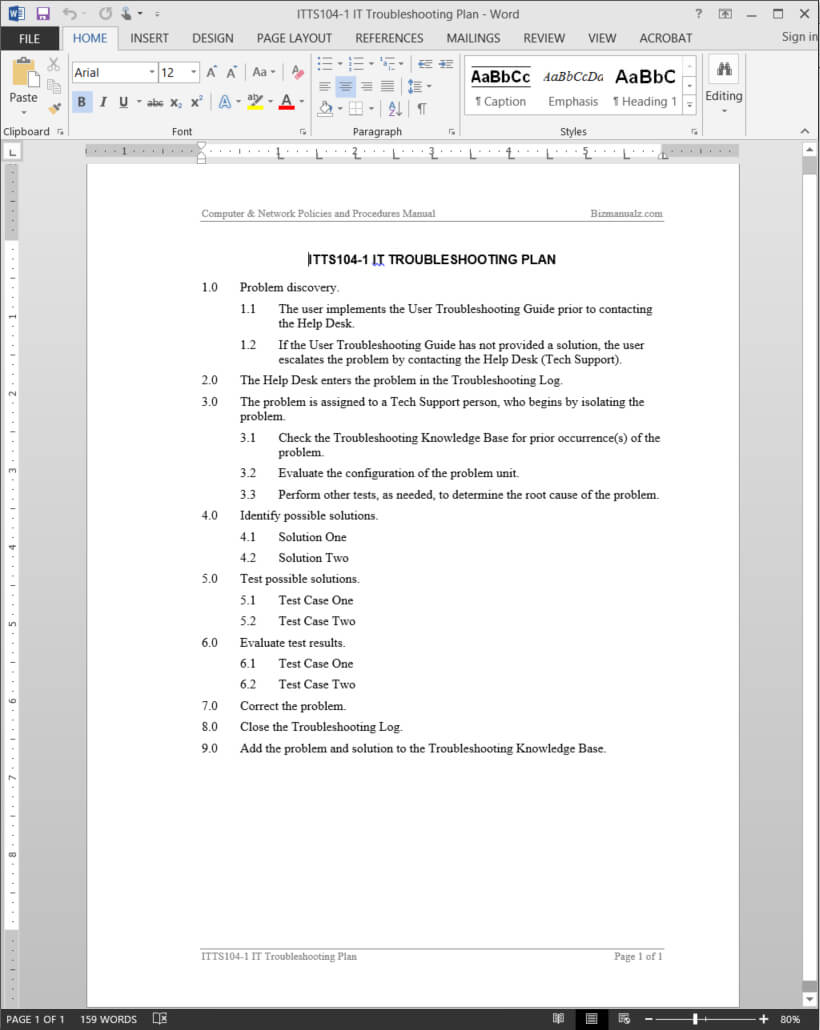 It Troubleshooting Plan Template | Itts104 1 Pertaining To Software Problem Report Template