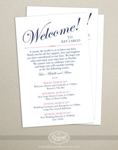 Itinerary Cards For Wedding Hotel Welcome Bag – Printed with regard to Wedding Hotel Information Card Template